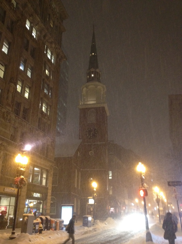 Corner of Washington & School Street, downtown Boston, featuring the historic Old South Meeting House