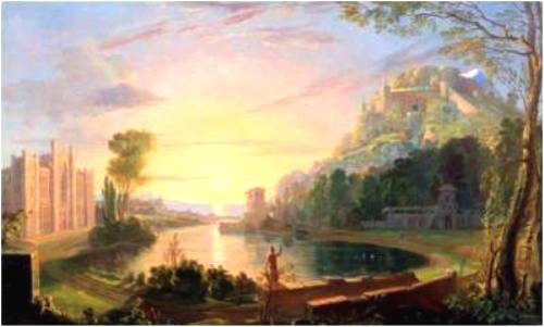Samuel Morse's landscape picturing the university as paradise, using NYU's original Gothic style building (1835-36)
