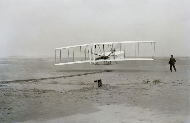 Wright Brothers, 1903, near Kitty Hawk, NC (Photo: Wikipedia)