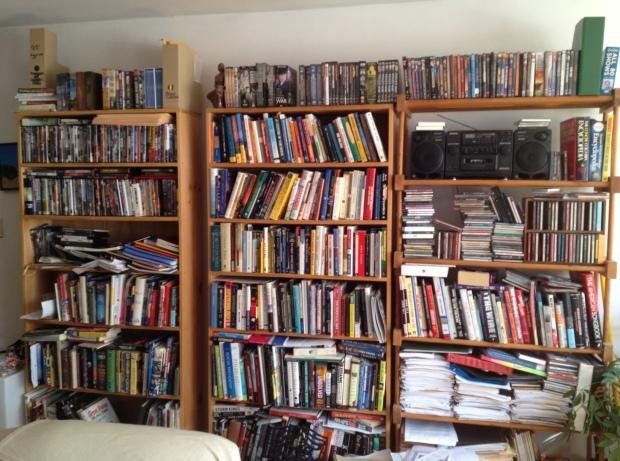Bookshelves everywhere: A snapshot of my humble abode, Jamaica Plain, Boston.