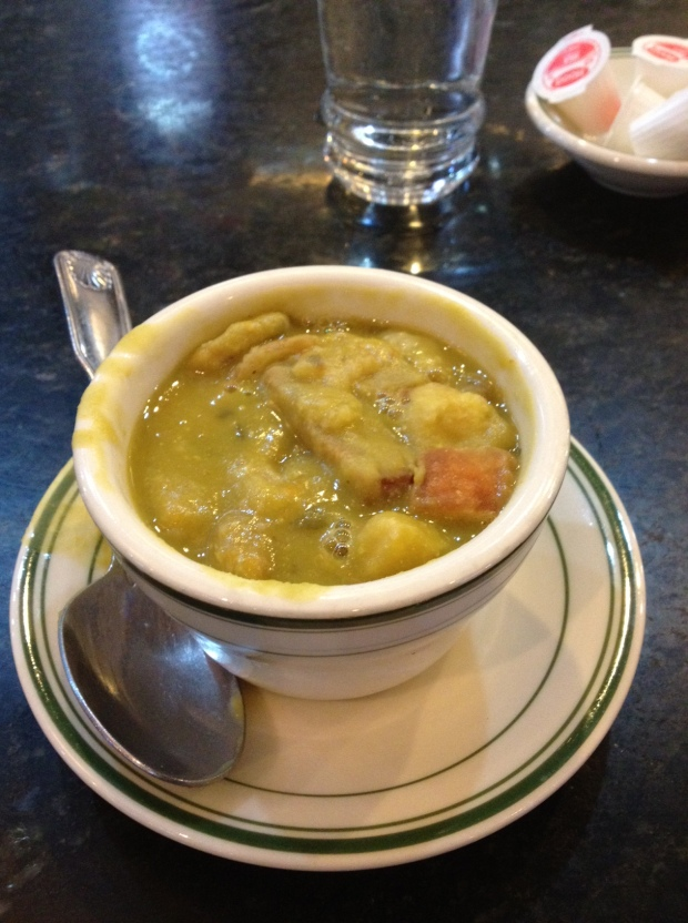 The Cozy's split pea soup with croutons...as good as soup can get.