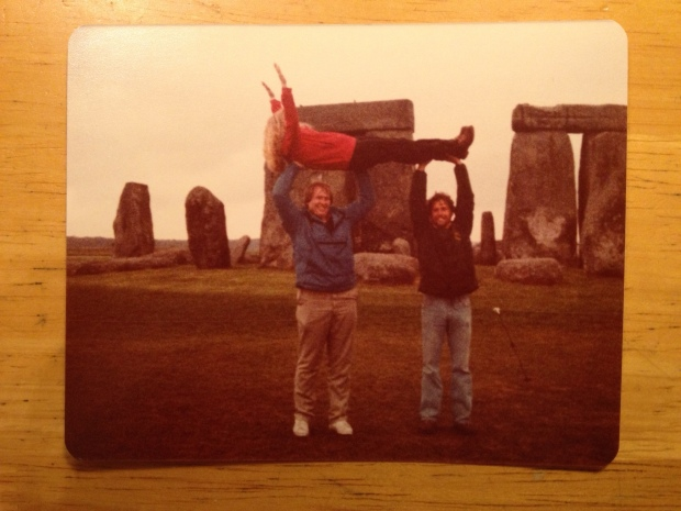 College chums helping to fuel the eventual roping off of Stonehenge from tourists (Photo: DY, 1981)