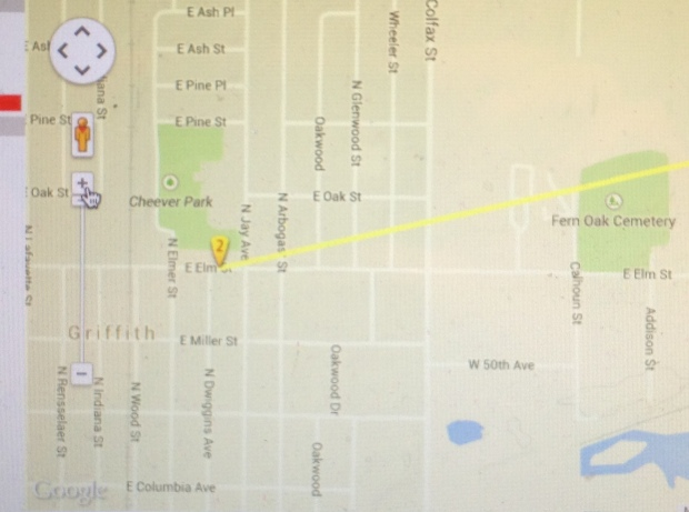 Path of the 1962 tornado. We lived on Oakwood St, near the origin.