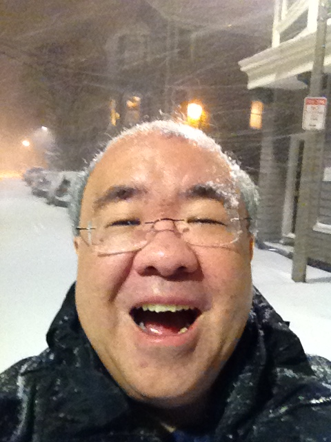 Blizzard selfie, with my street and condo building in the background.