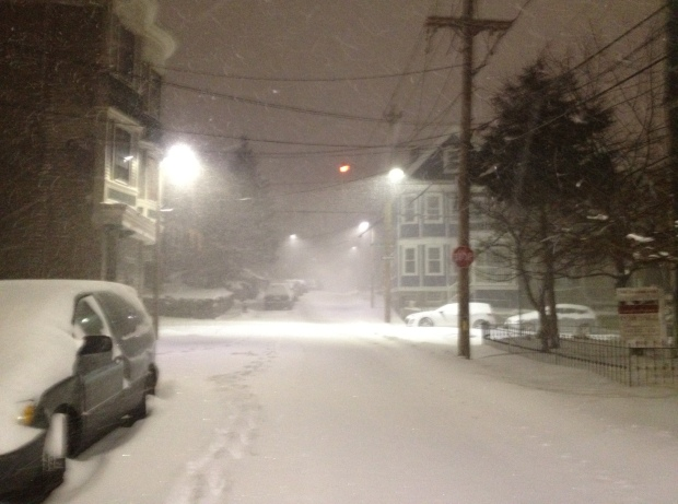 Now we've got a blizzard! 1 a.m. Tuesday, corner of Boylston & Chestnut Ave, Jamaica Plain, Boston