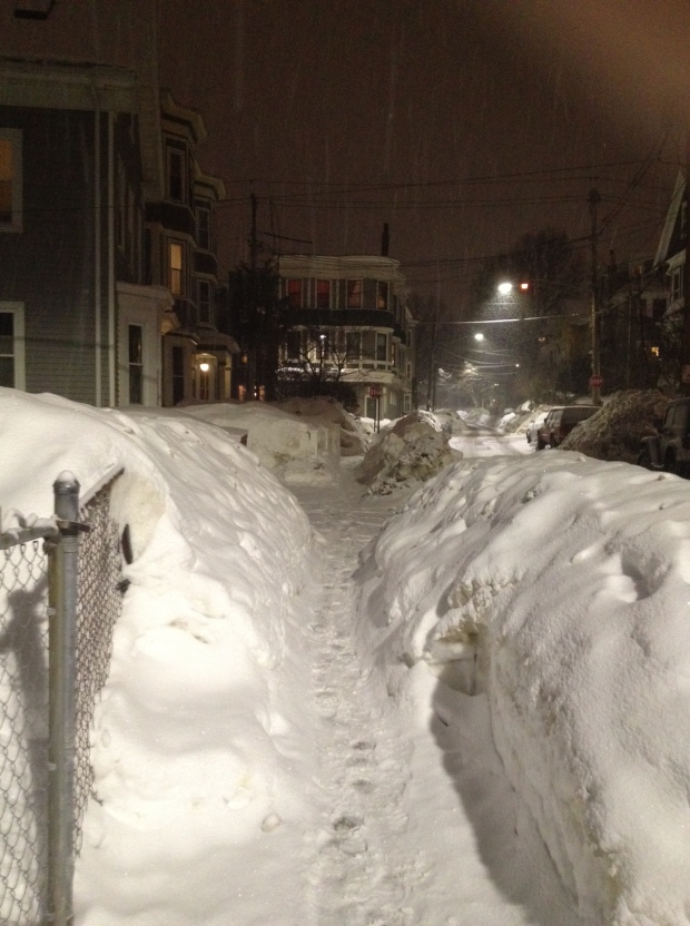 If you're wondering what the sidewalks look like in many residential areas of Boston, here's one from my 'hood, taken last night walking home from the subway.