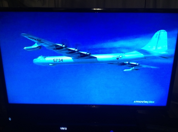 "Screen shot from ""Strategic Air Command,"" a B-36 bomber"