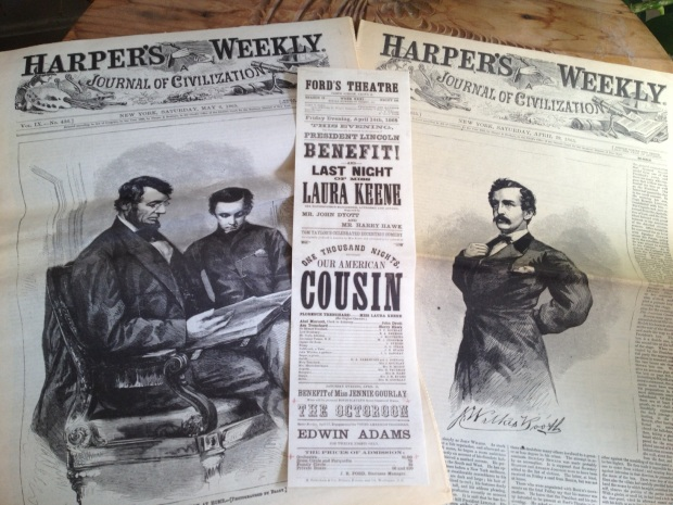 Reprints of Harper's Weekly following the assassination and the playbill from the fatal night