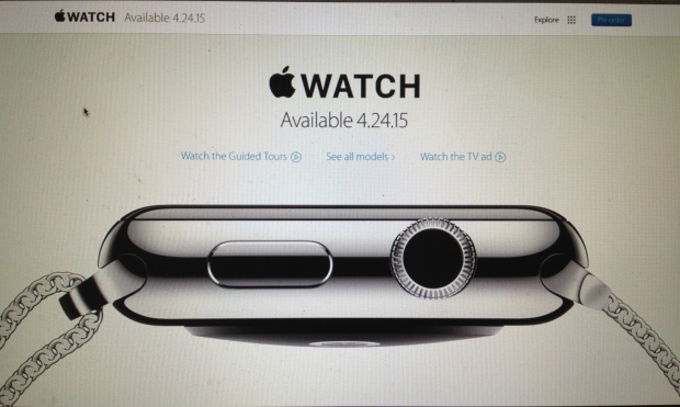 Screen shot of the Apple Watch webpage