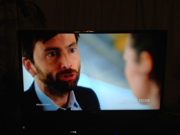 Screen shot from Broadchurch, Season 2, with David Tennant and Olivia Colman.