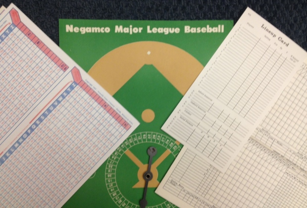 Negamco baseball charts, spinner, lineup card, and scoresheet
