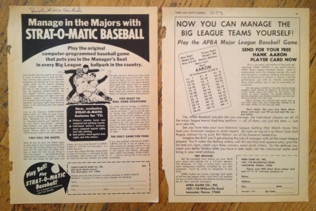 Magazine ads for Strat-O-Matic and APBA baseball games