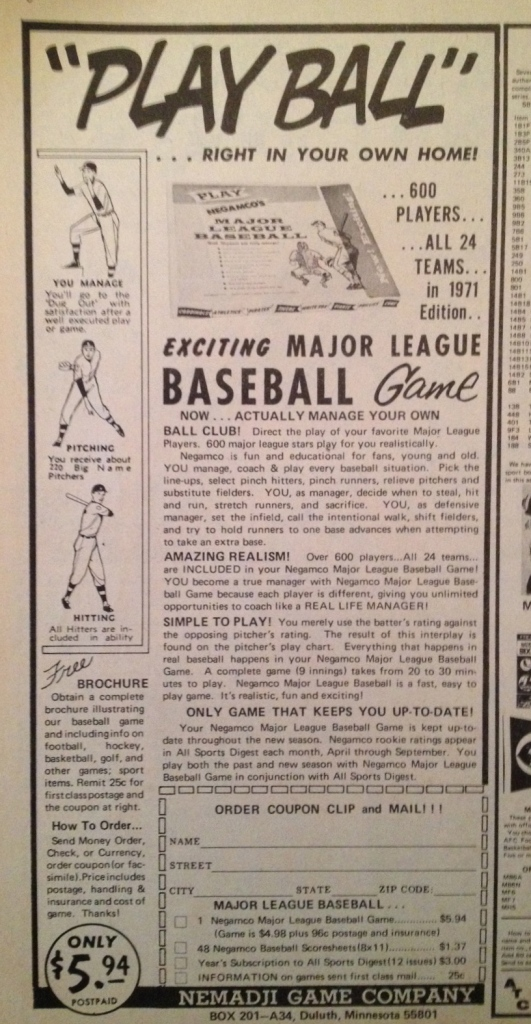 Magazine ad for Negamco baseball