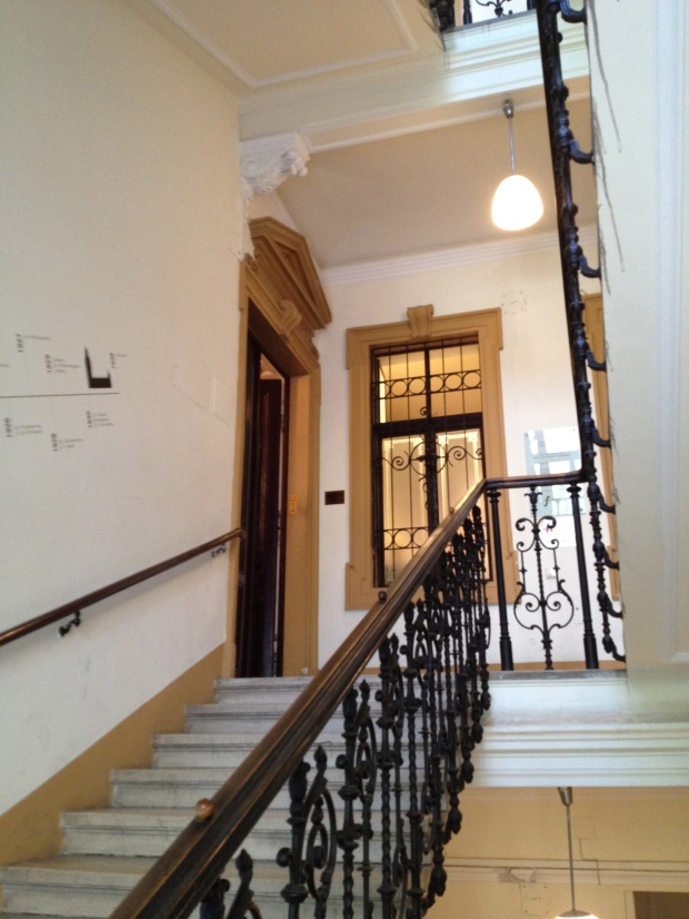 The stairwell leading to Sigmund Freud's practice and family residence