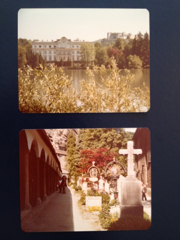 Top: The Von Trapp family home. Bottom: The cemetery where they're hiding.