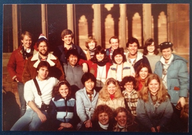 Our Cambridge, England study abroad group, 1981