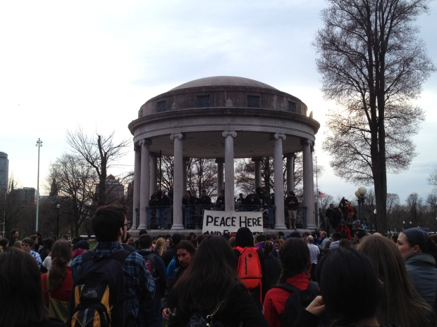 Peace vigil, Boston Common, the day after the Marathon bombings (April 2013; photo: DY)