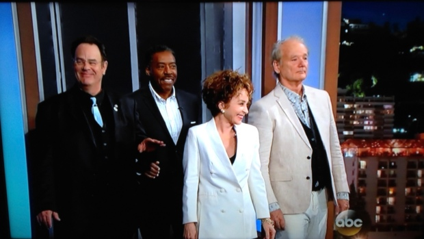 Dan Ackroyd, Ernie Hudson, Annie Potts, and Bill Murray visit with Jimmy Kimmel