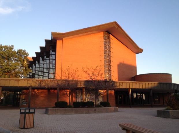 The sun sets on VU's Chapel of the Resurrection (photo: DY)